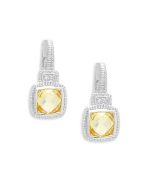 Judith Ripka  White Sapphire and Canary Crystals Cushion Drop Earrings
