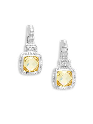 Judith Ripka White Shire And Canary Crystals Cushion Drop Earrings