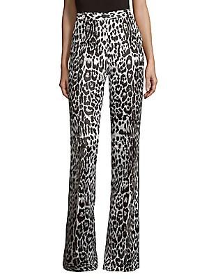 Leopard-Print Jacquard Trousers