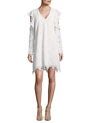 Lace Ruffle Sleeve Shift Dress
