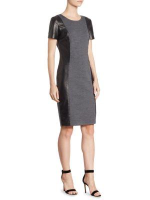 St. John  Short Sleeve Two-Tone Dress