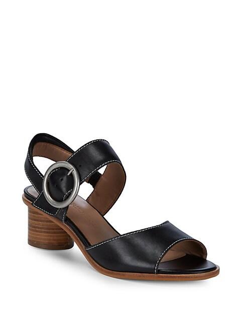 BERNARDO   Stacked Heel Leather Sandals   Goxip