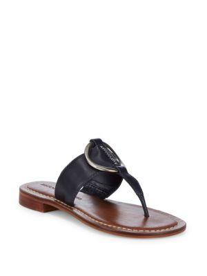 BERNARDO Metal Circle Leather Sandals in Navy