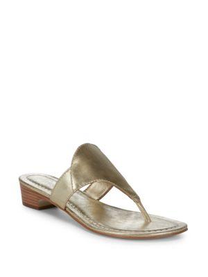 BERNARDO Gabriella Thong Sandals in Gold Metal