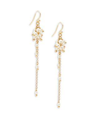Chan Luu  Crystal Cream Drop Earrings