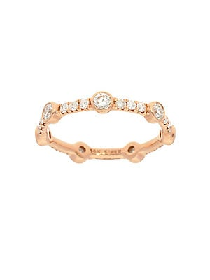 14K Rose Gold & Diamond Bezel Stackable Ring