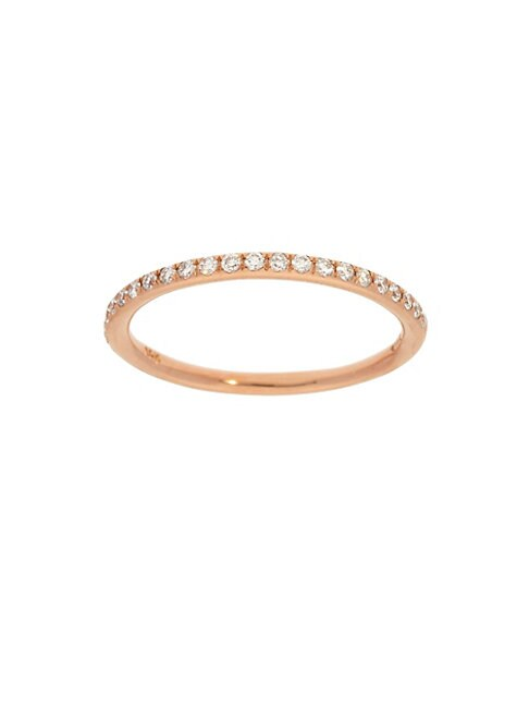 14K Rose Gold & Pavé Diamond Stackable Ring