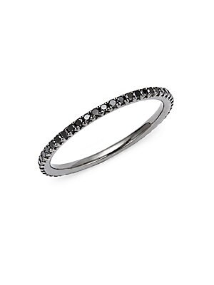 14K White Gold & Diamonds Pave Eternity Stackable Ring