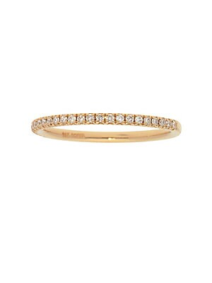 14K Yellow Gold and Diamond Pave Stackable Ring
