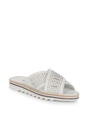 Sneaky Studded Leather Slide Sandal in White