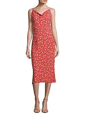 abs female midi floral slip dress