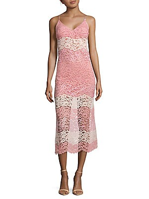 abs female lace midi slip dress