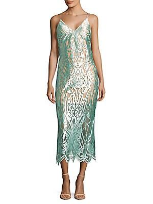 abs female intricate mesh slip dress