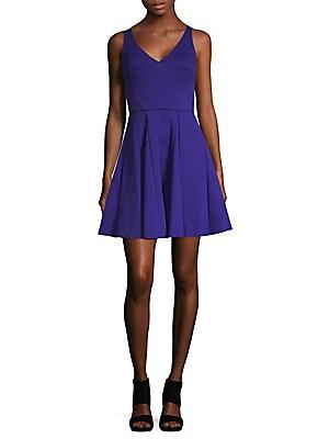 abs female vneck fitflare dress