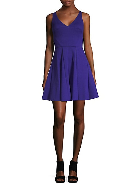 ABS | V-Neck Fit-&-Flare Dress | Goxip