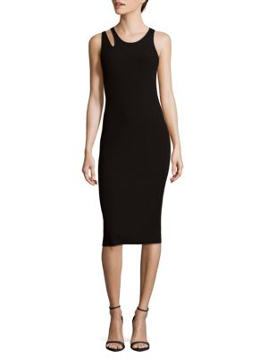Cutout Compact Knit Tank Dress - Black Size L