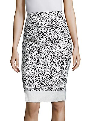 Spatter-Print Tweed Pencil Skirt