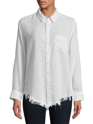THE BLUE SHIRT SHOP Striped Button-Down Shirt in White