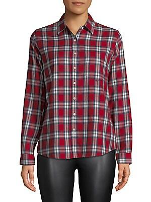 THE BLUE SHIRT SHOP Plaid Button-Down Shirt in Red Plaid