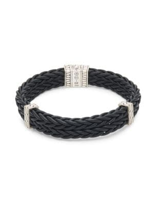 John Hardy Accessories Classic Leather & Sterling Silver Chain Bracelet
