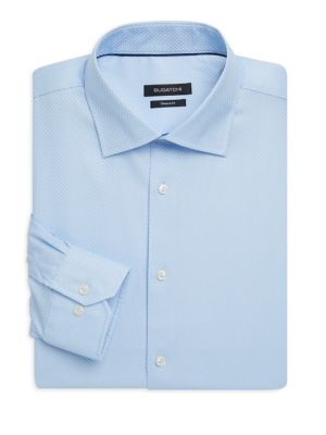 BUGATCHI Shaped Fit Textured Dress Shirt in Sky