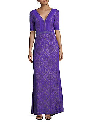 Lace Short-Sleeve V-Neck Gown