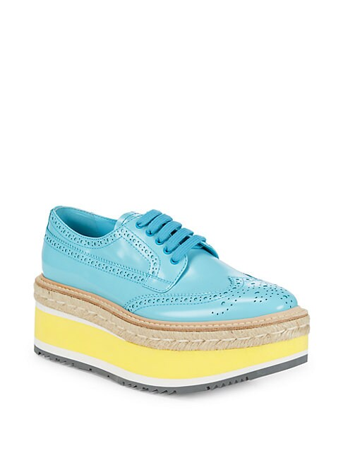 Leather Flatform Oxford Espadrilles