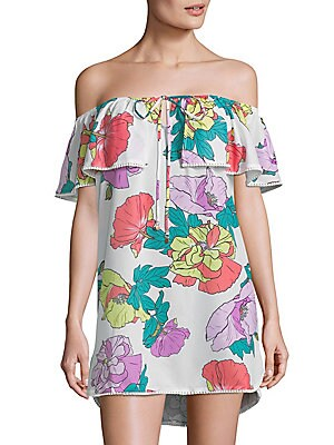 6 shore road female offshoulder ruffle coverup