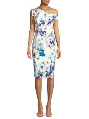 Black Halo  Floral Asymmetrical Sheath Dress