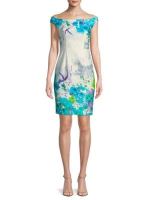 Black Halo  Floral Off-the-Shoulder Sheath Dress