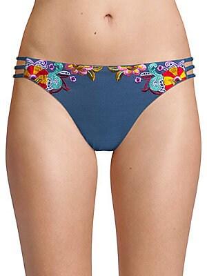 Embroidered Denim Bikini Bottom