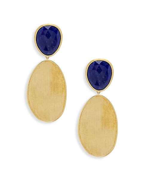 Lunaria Gemstone & Yellow Gold Oval Drop Earrings