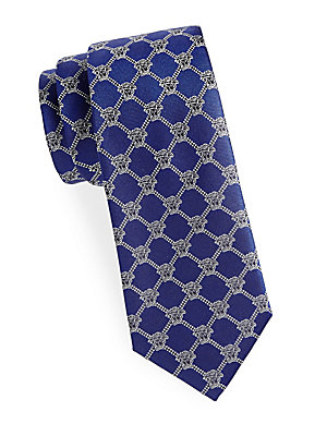 Diamond Pattern Logo Silk Tie
