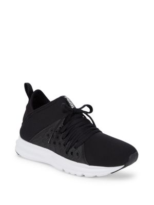 Enzo Logo Lace-Up Sneakers, Black