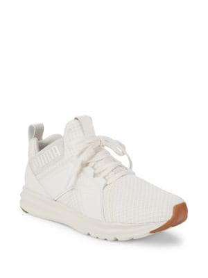 Enzo Logo Lace-Up Sneakers, White
