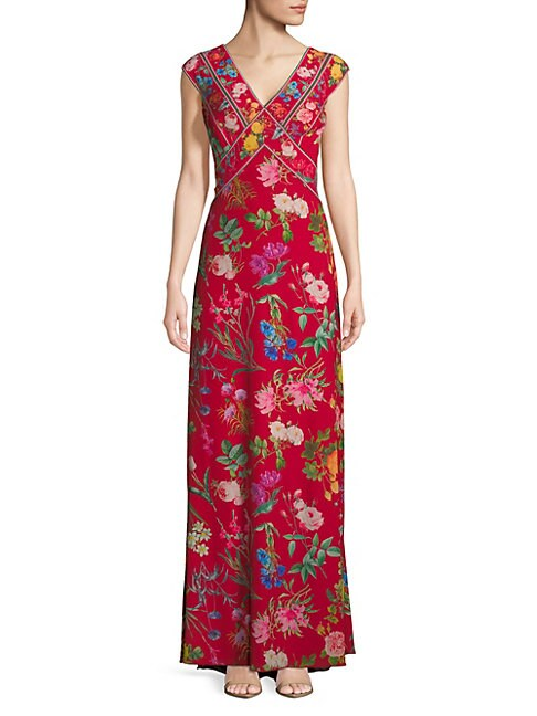 Floral-Print Floor-Length Dress
