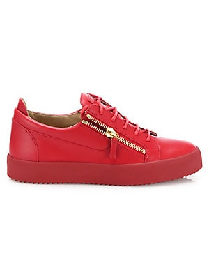 Crocodile Embossed Leather Sneakers