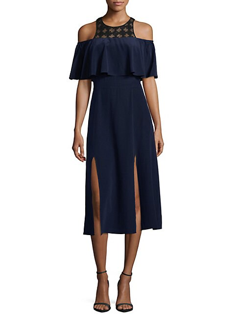 COSETTE   Off-The-Shoulder Flare-Sleeve Dress   Goxip
