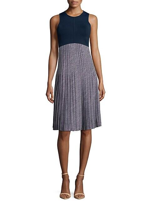 COSETTE   Two-Tone Pleated Dress   Goxip