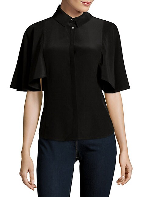COSETTE Meryl Cape-Sleeve Silk Blouse in Black