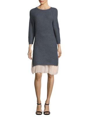 COSETTE Rib-Knit Long Sweater in Light Grey