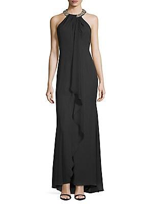 Chiffon Ruffle-Front Dress