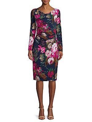 Floral-Print Long-Sleeve Dress