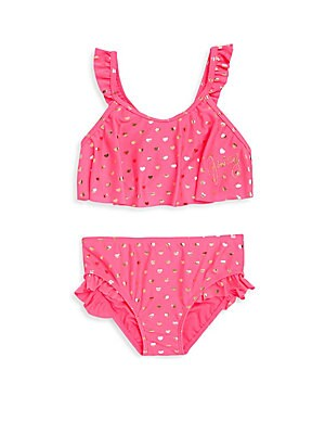 Little Girl's Two-Piece Heart-Print Bikini