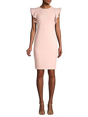 Calvin Klein - Ruffle Cap-Sleeve Sheath Dress - saksoff5th.com fe9a5fdbb6f