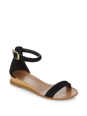 KENNETH COLE Jocelyn Suede Wedge Sandals in Black