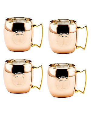 16 Oz. Solid Copper Moscow Mule Mugs, Monogram T, Set of 4