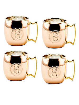 16 Oz. Solid Copper Moscow Mule Mugs, Monogram S, Set of 4