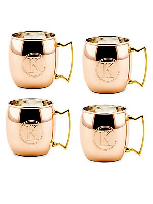 16 Oz. Solid Copper Moscow Mule Mugs, Monogram K, Set of 4