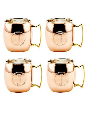 Monogrammed J Copper Moscow Mule Mug/Set Of 4